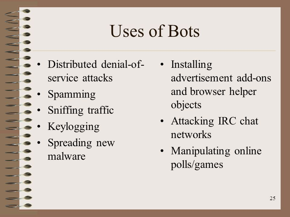 Uses of Bots Distributed denial-of-service attacks Spamming