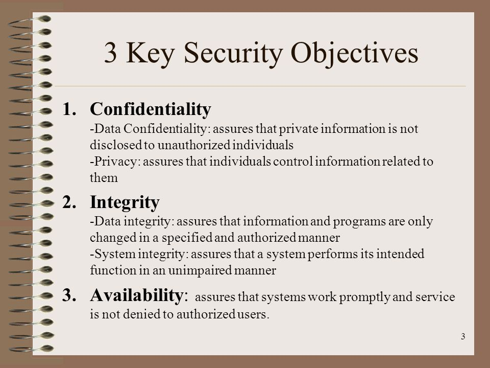 3 Key Security Objectives