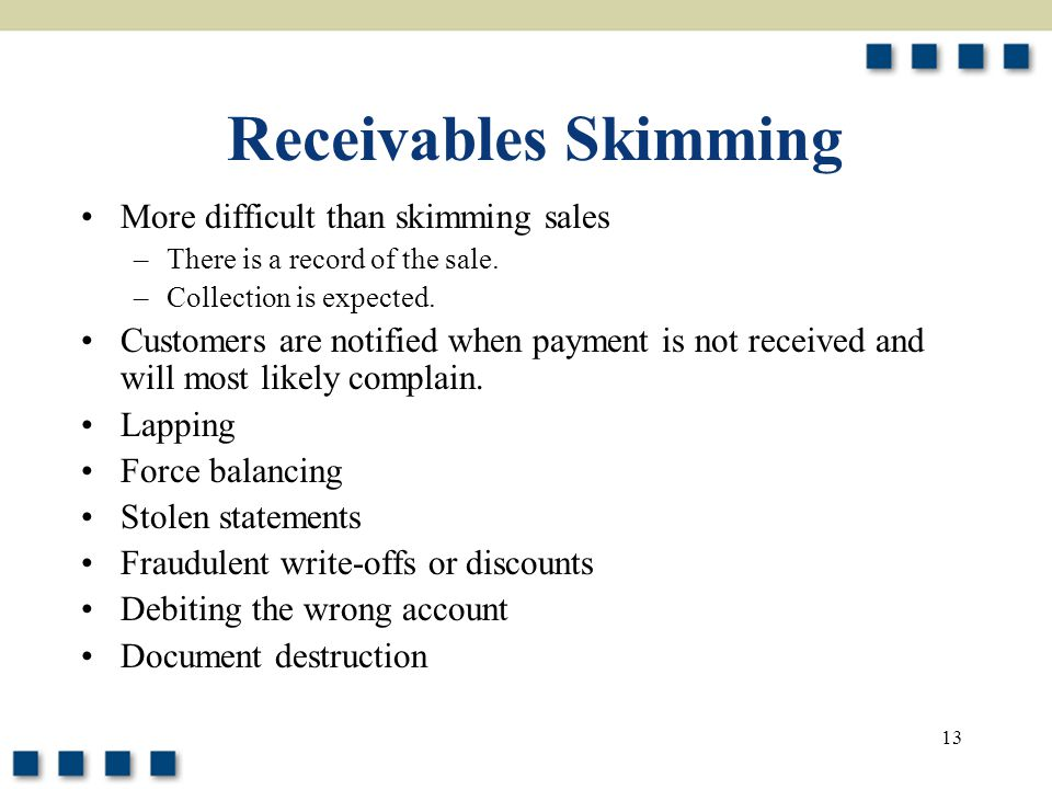 Receivables Skimming More difficult than skimming sales