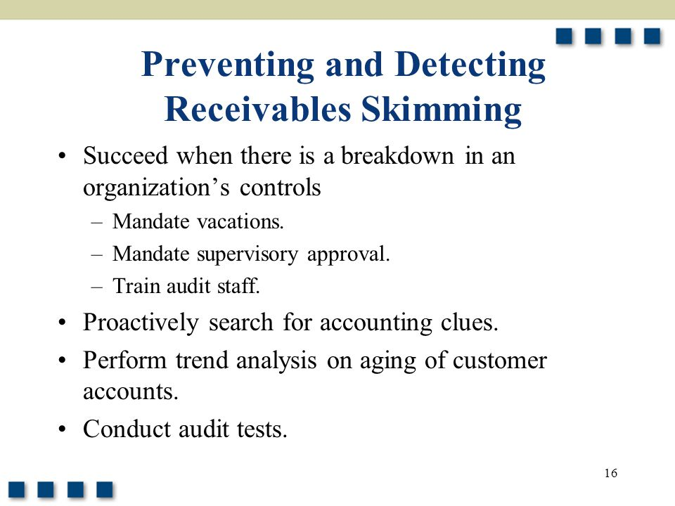 Preventing and Detecting Receivables Skimming