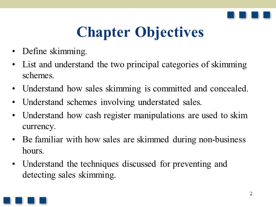 Chapter Objectives Define skimming.