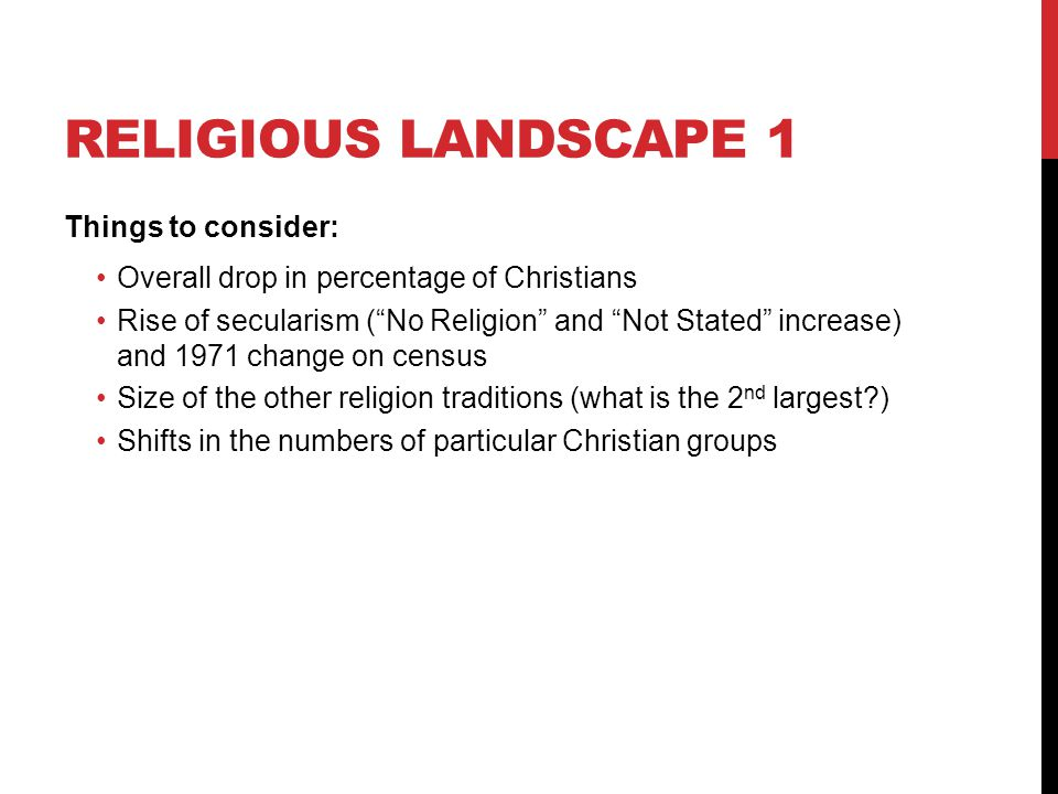 Religious landscape 1 Things to consider: