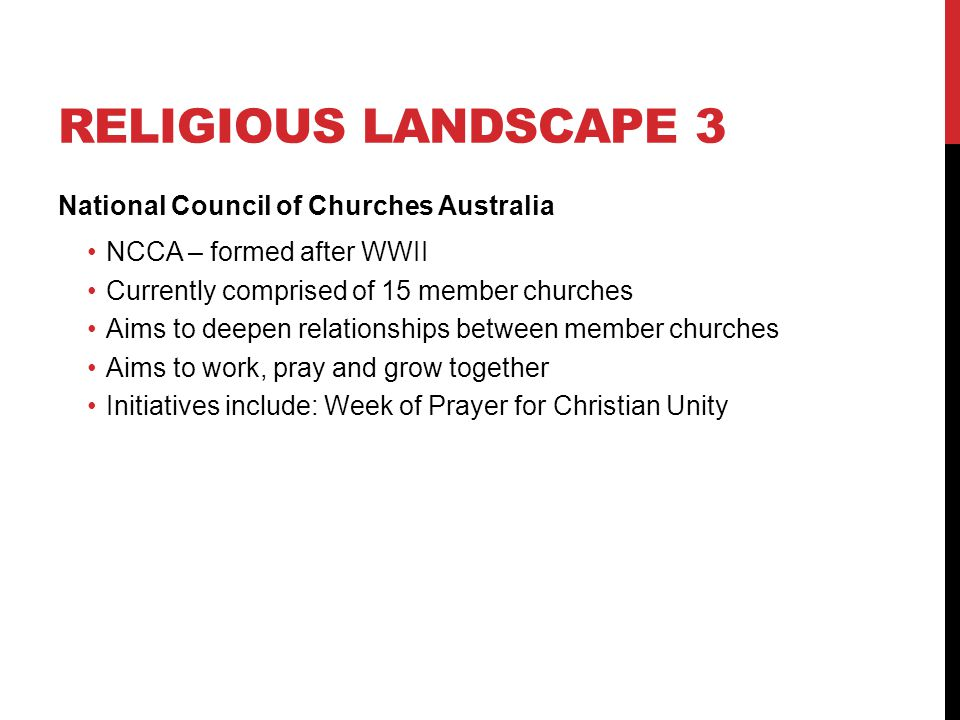 Religious landscape 3 National Council of Churches Australia