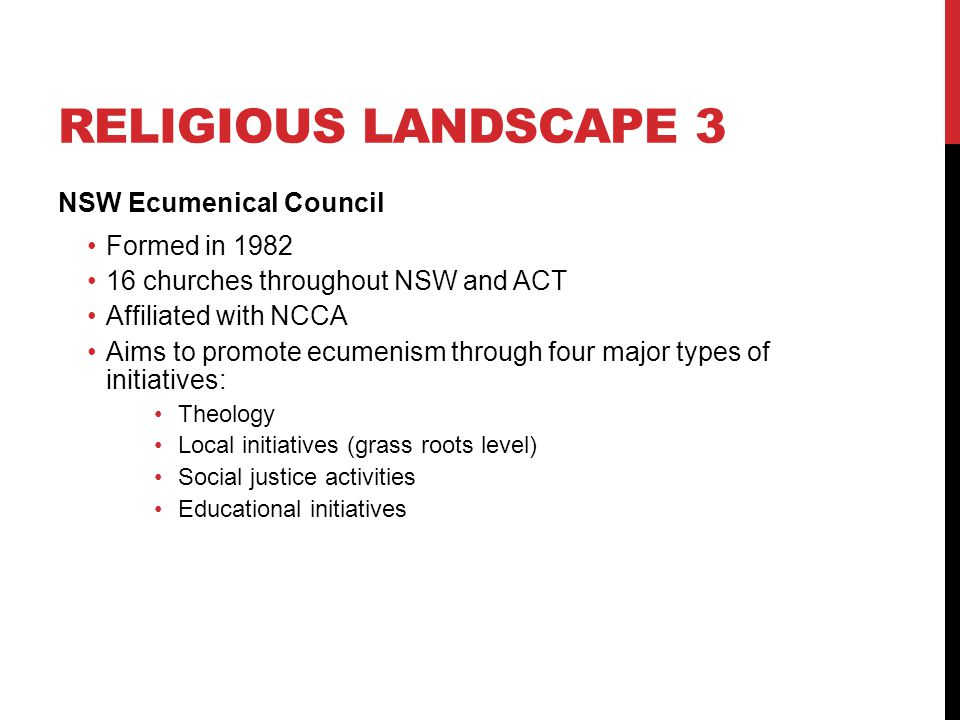 Religious landscape 3 NSW Ecumenical Council Formed in 1982
