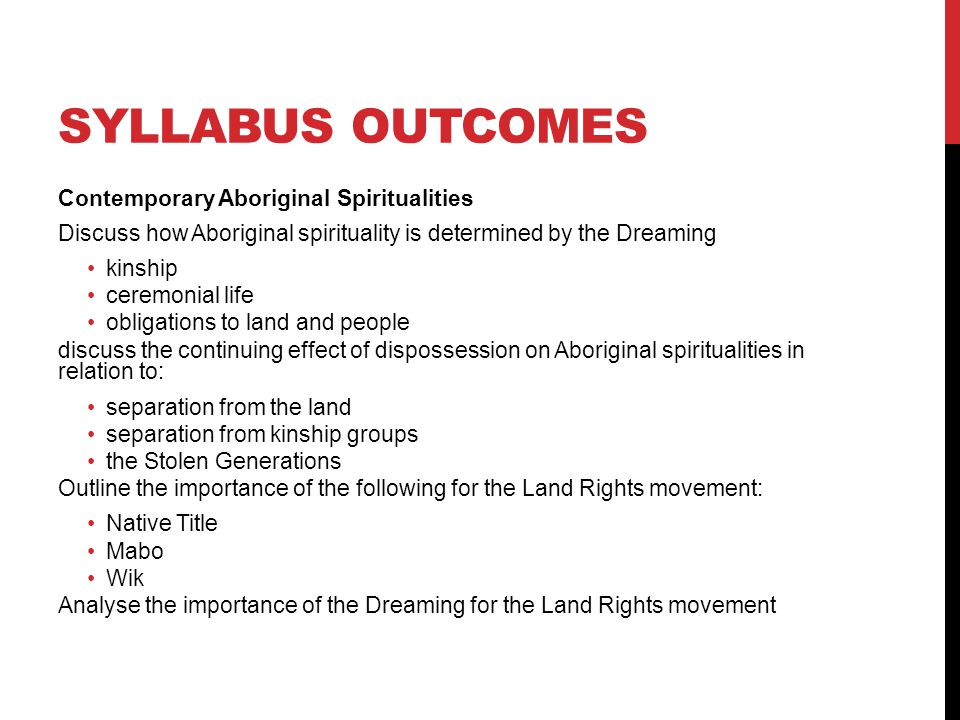Syllabus outcomes Contemporary Aboriginal Spiritualities