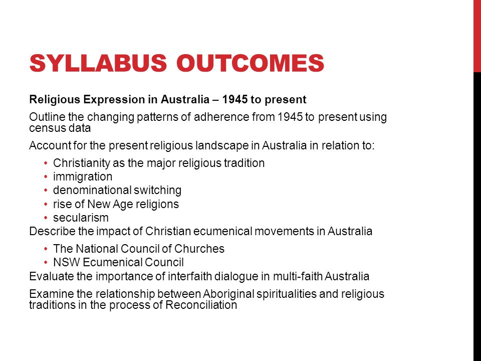 Syllabus outcomes Religious Expression in Australia – 1945 to present