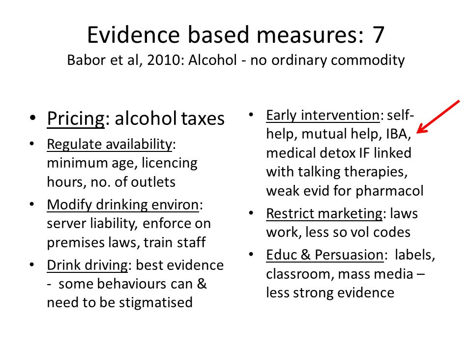 Evidence based measures: 7 Babor et al, 2010: Alcohol - no ordinary commodity