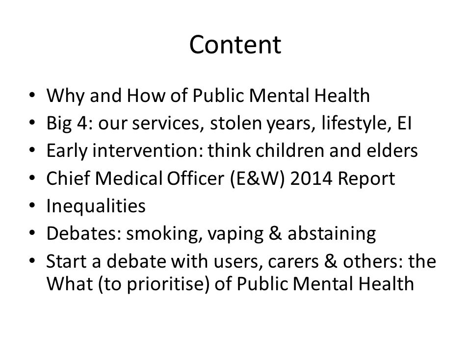 Content Why and How of Public Mental Health