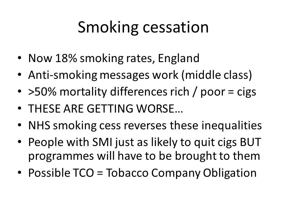 Smoking cessation Now 18% smoking rates, England