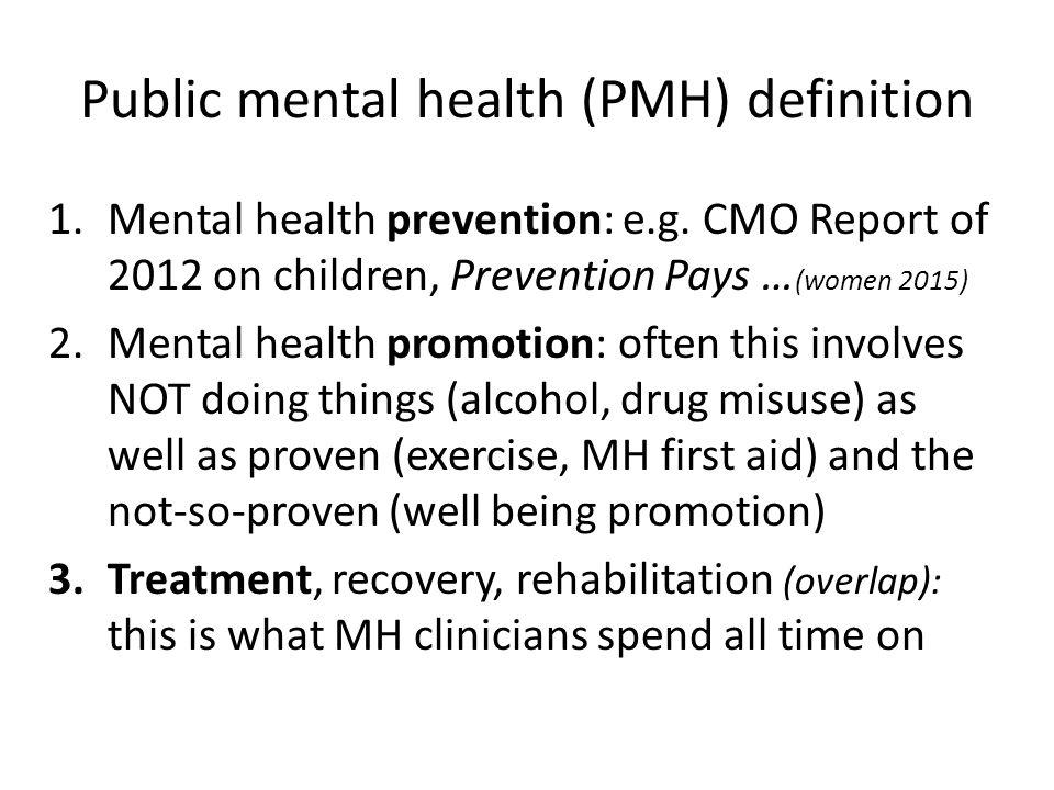 Public mental health (PMH) definition