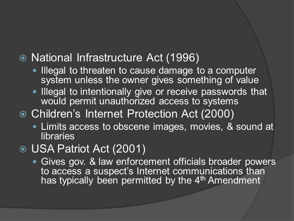 National Infrastructure Act (1996)