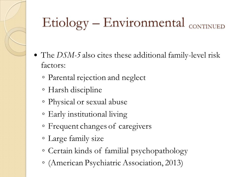 Etiology – Environmental continued
