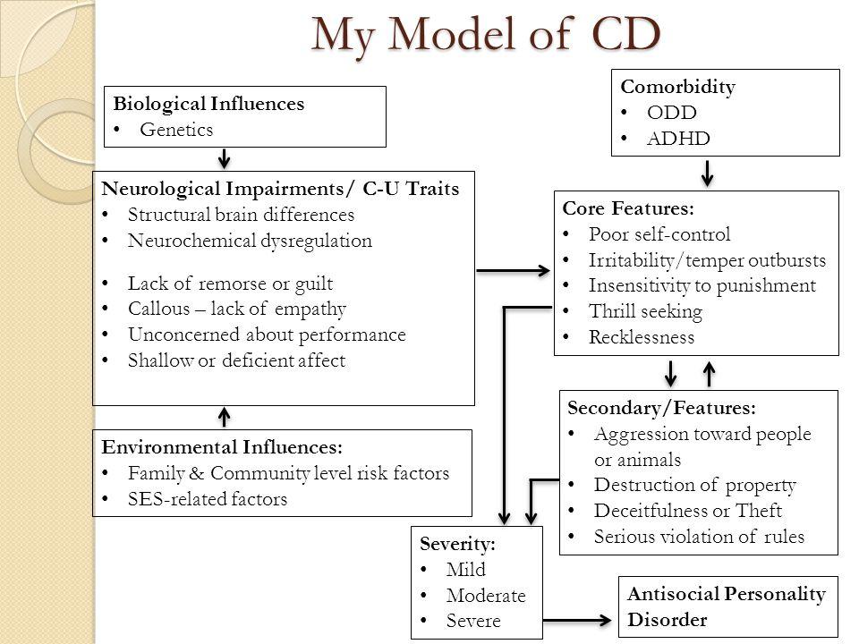 My Model of CD Comorbidity ODD Biological Influences ADHD Genetics