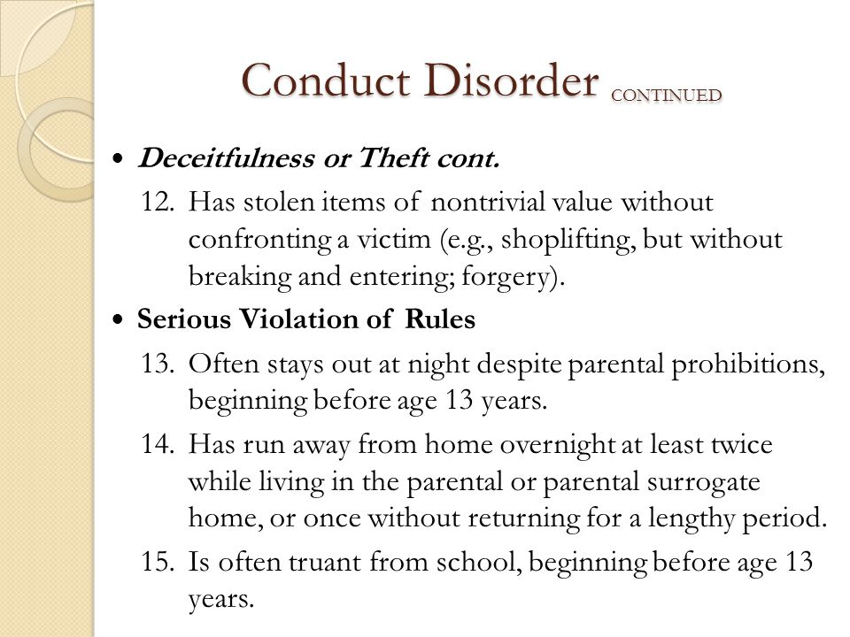 Conduct Disorder continued