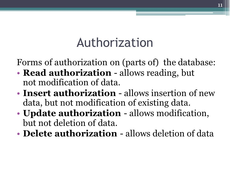 Authorization Forms of authorization on (parts of) the database: