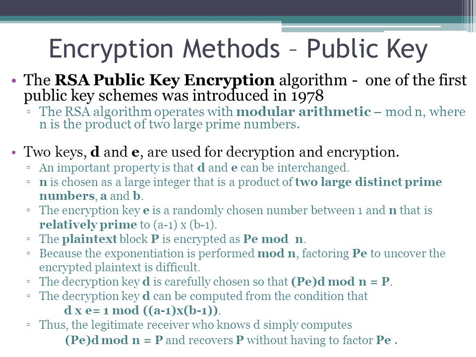 Encryption Methods – Public Key