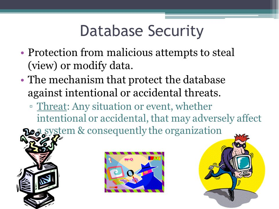 Database Security Protection from malicious attempts to steal (view) or modify data.