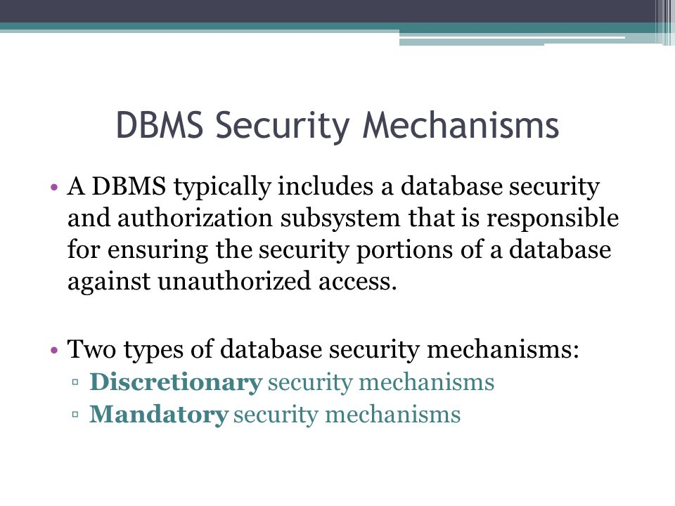 DBMS Security Mechanisms