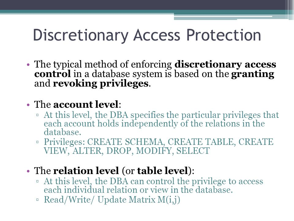 Discretionary Access Protection