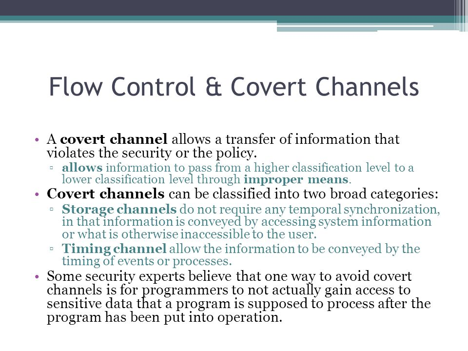 Flow Control & Covert Channels