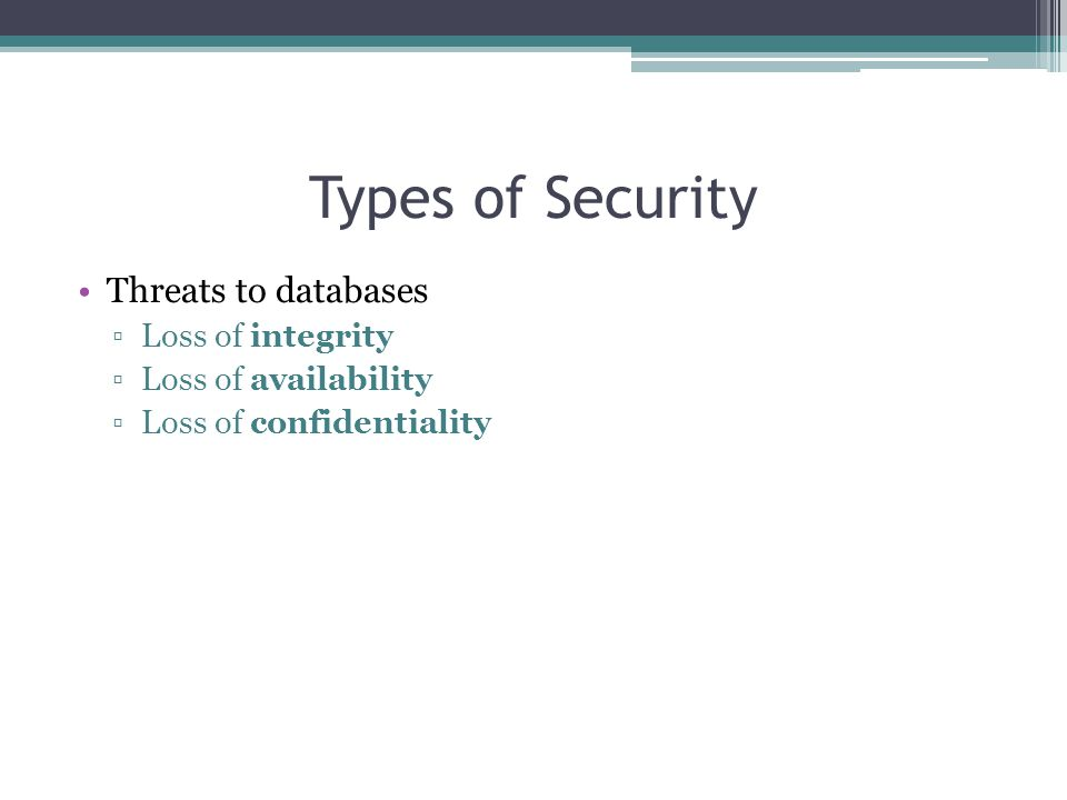 Types of Security Threats to databases Loss of integrity