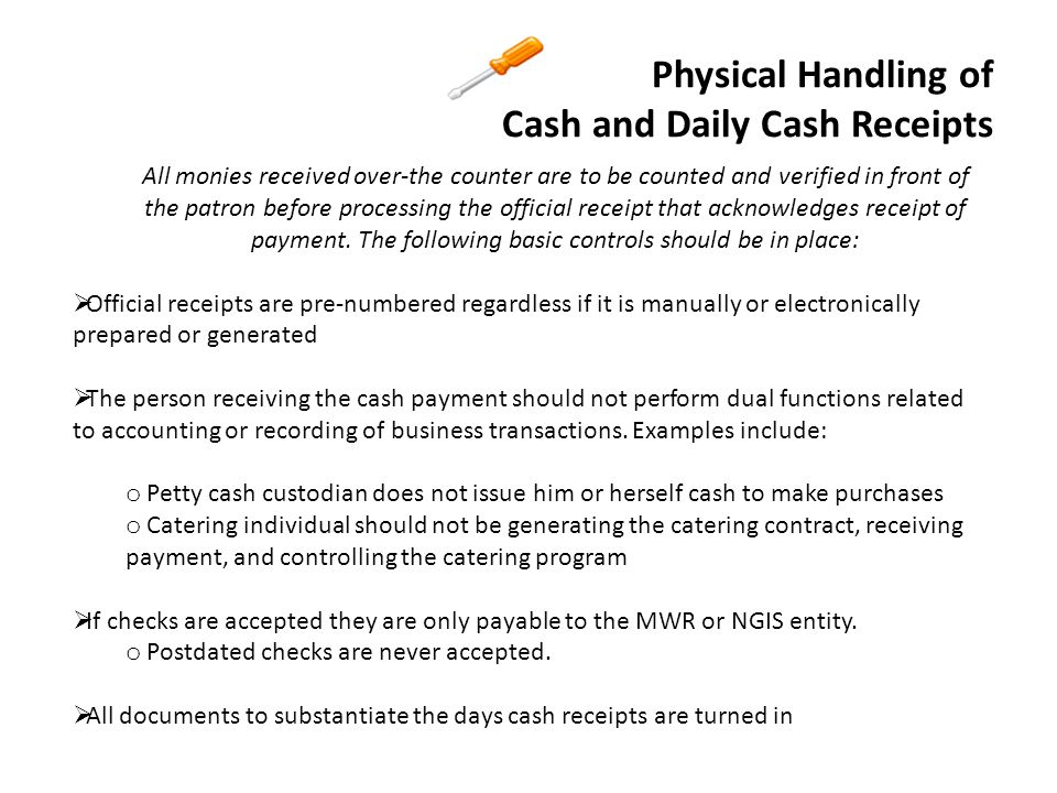 Physical Handling of Cash and Daily Cash Receipts