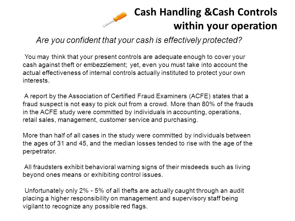 Cash Handling &Cash Controls within your operation