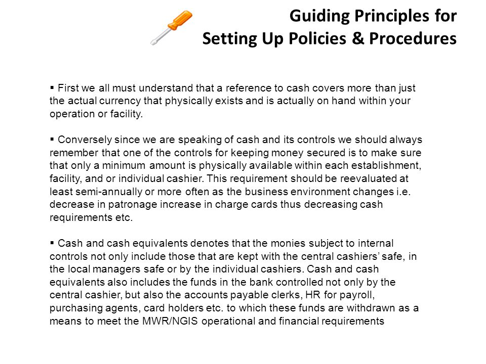 Guiding Principles for Setting Up Policies & Procedures