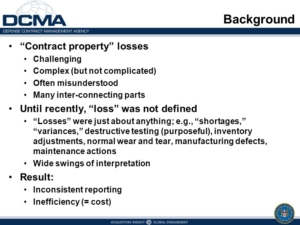 Background Contract property losses