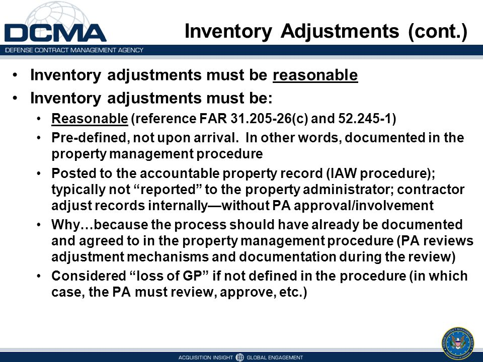 Inventory Adjustments (cont.)