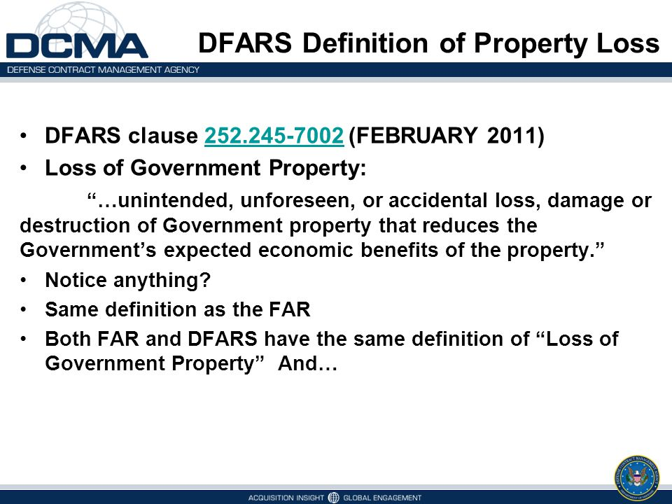 DFARS Definition of Property Loss