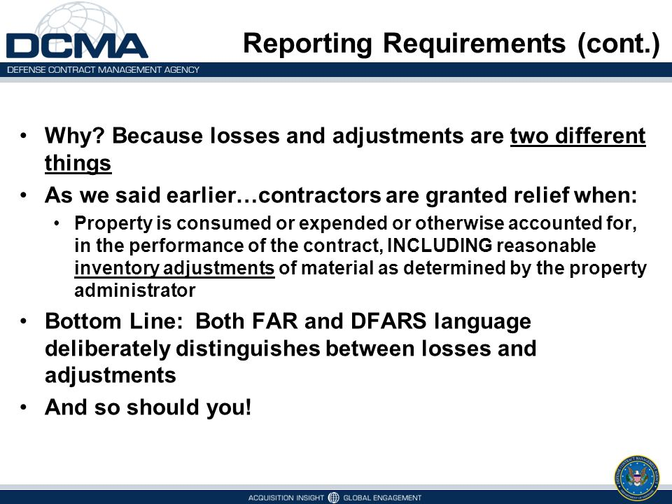 Reporting Requirements (cont.)