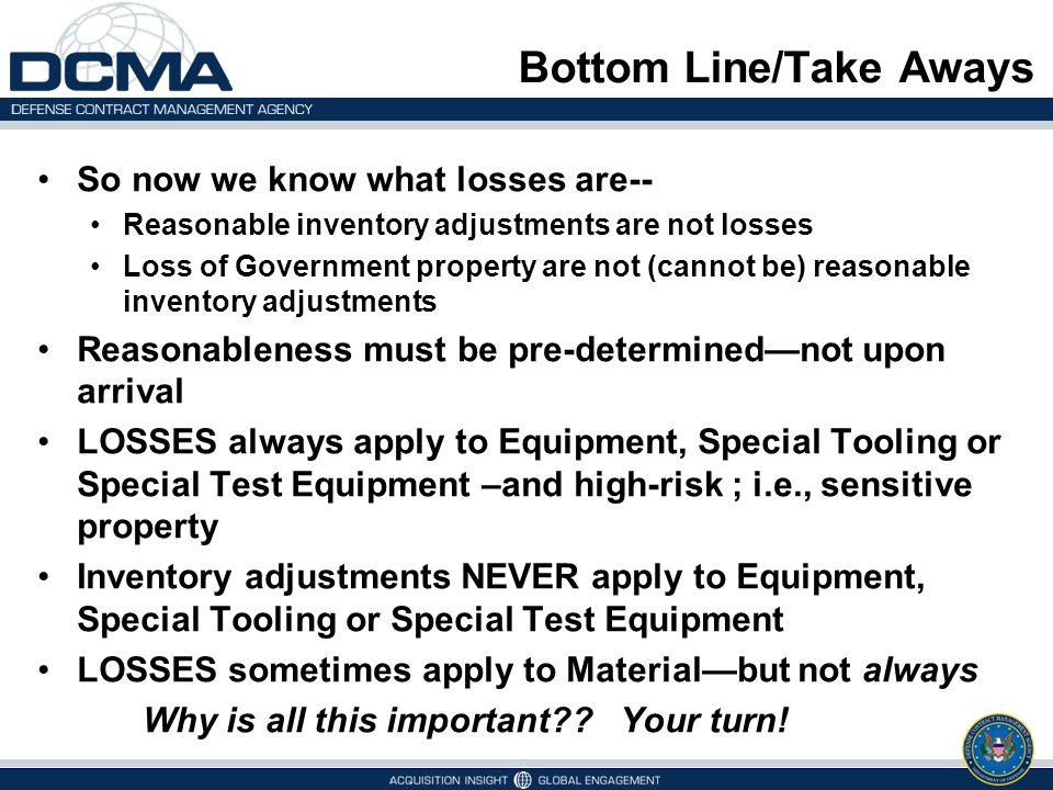 Bottom Line/Take Aways