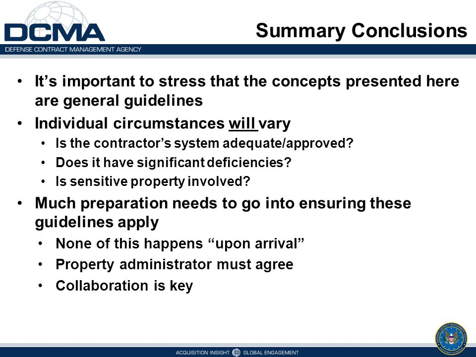 Summary Conclusions It's important to stress that the concepts presented here are general guidelines.