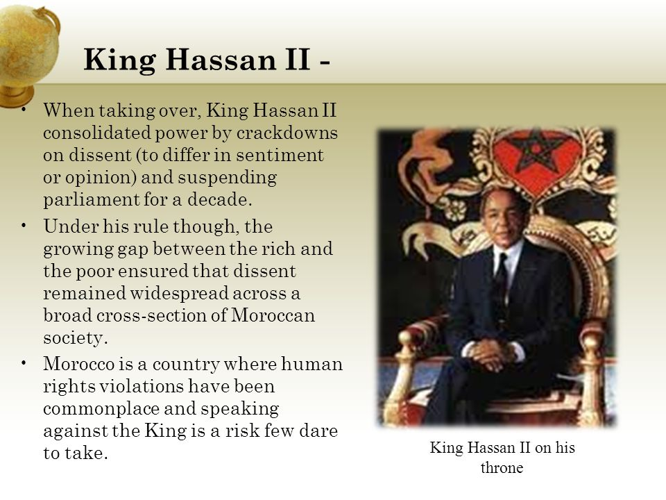 King Hassan II on his throne