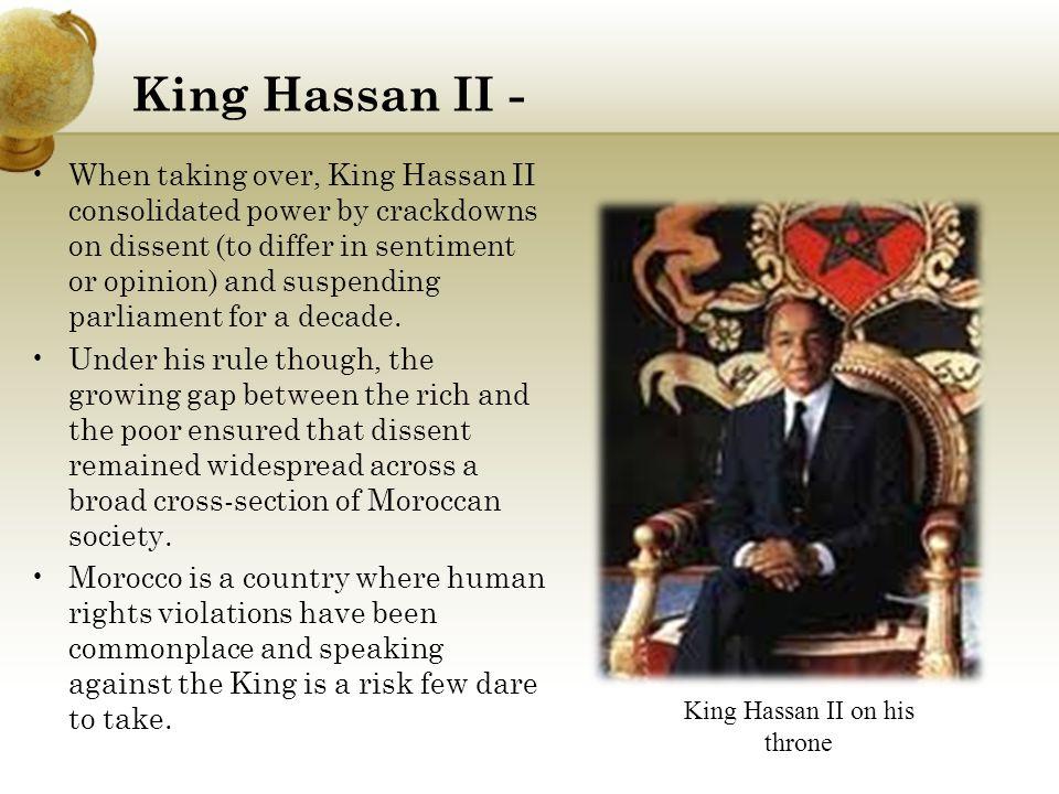 King Hassan II on his throne