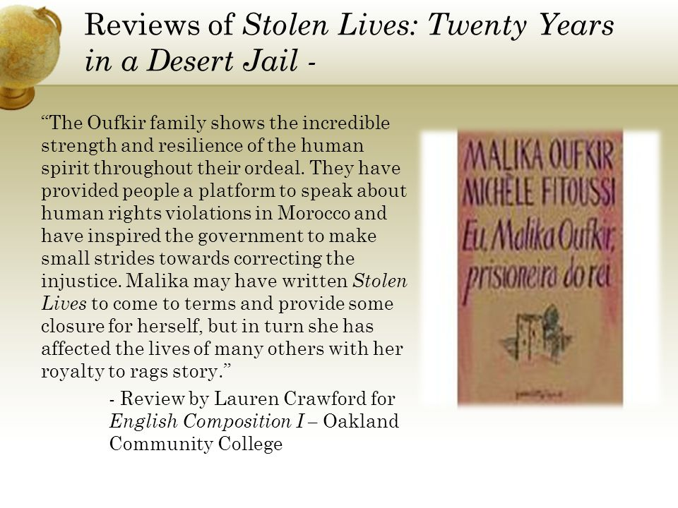 Reviews of Stolen Lives: Twenty Years in a Desert Jail -