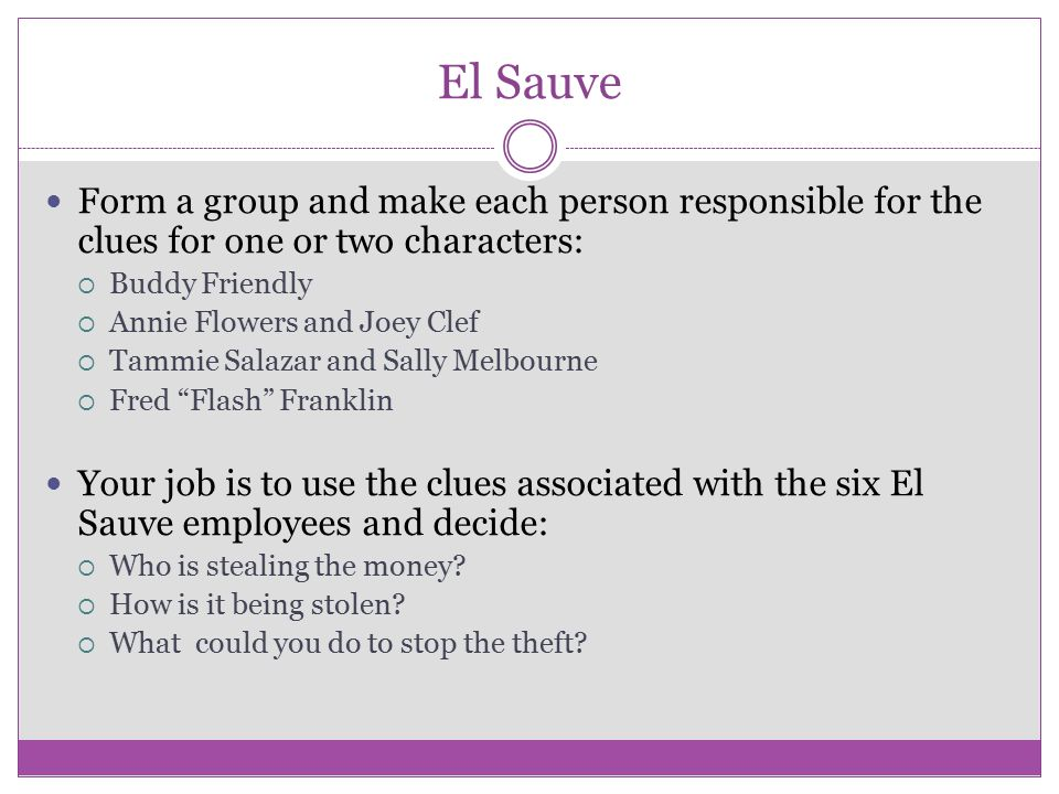 El Sauve Form a group and make each person responsible for the clues for one or two characters: Buddy Friendly.