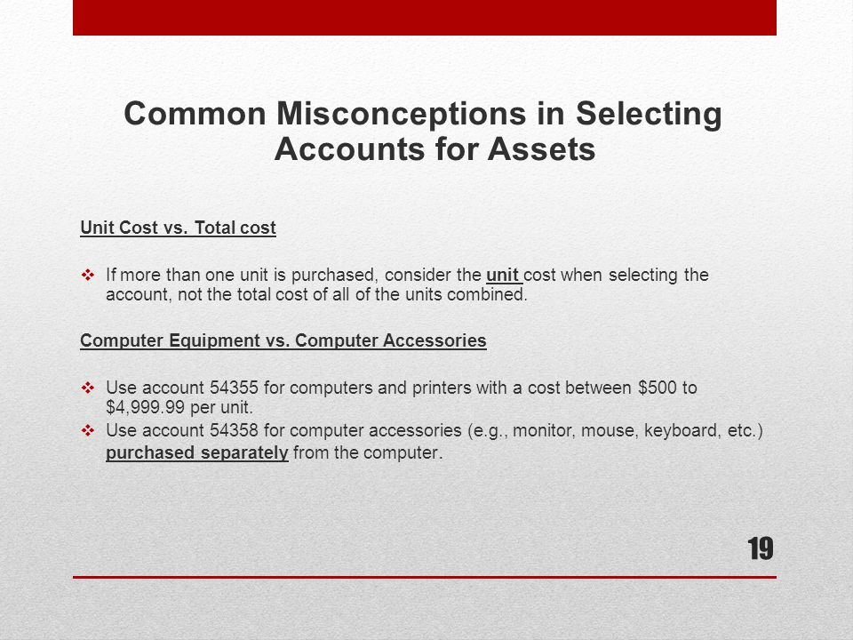 Common Misconceptions in Selecting Accounts for Assets