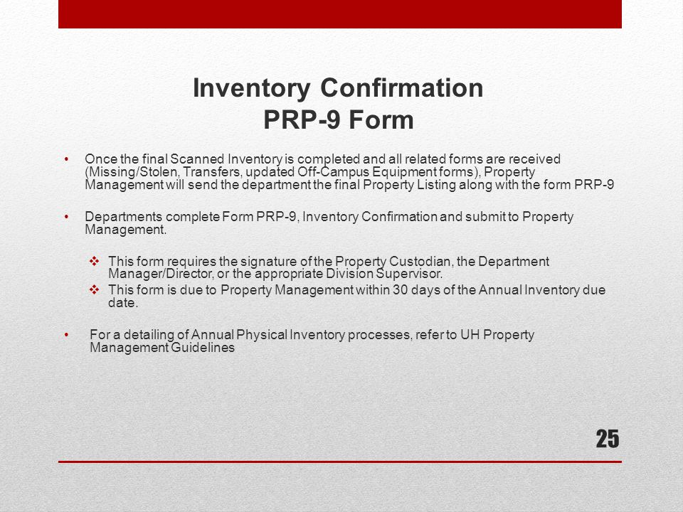 Inventory Confirmation