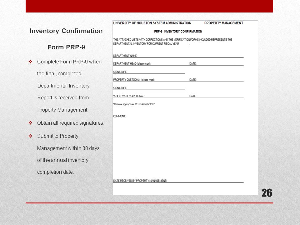 Inventory Confirmation Form PRP-9
