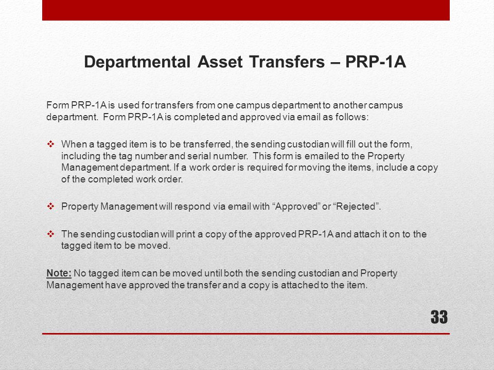 Departmental Asset Transfers – PRP-1A