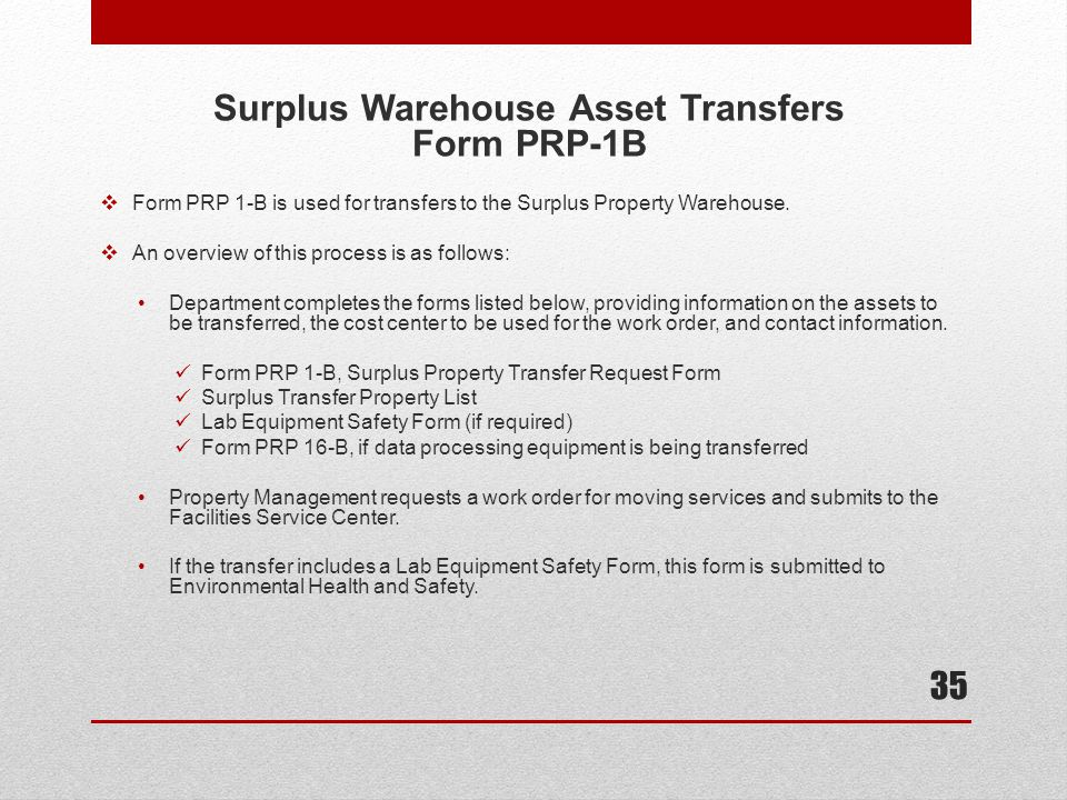 Surplus Warehouse Asset Transfers Form PRP-1B
