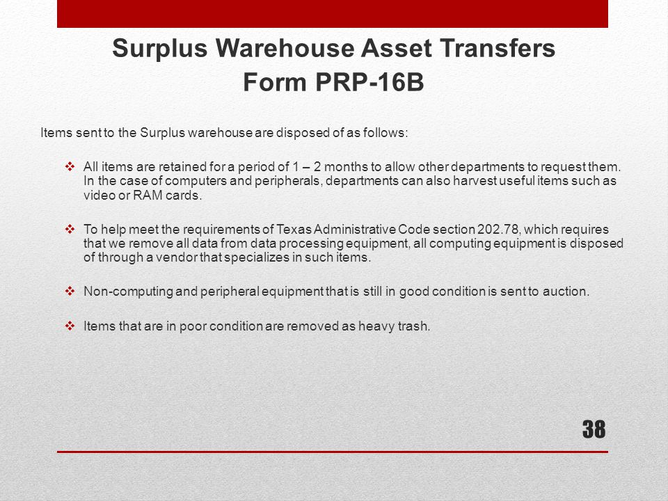 Surplus Warehouse Asset Transfers