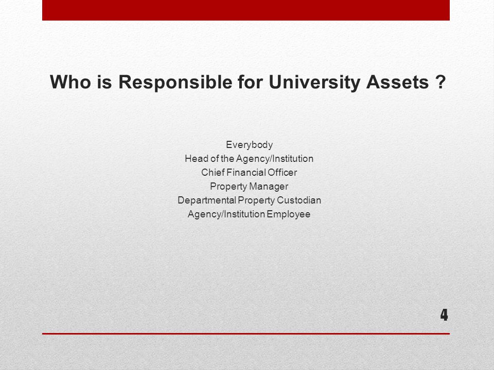 Who is Responsible for University Assets