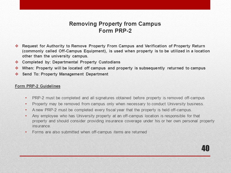 Removing Property from Campus Form PRP-2