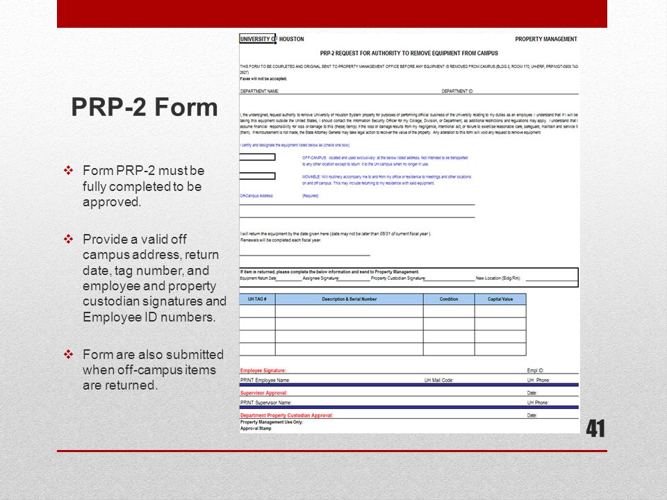 PRP-2 Form Form PRP-2 must be fully completed to be approved.
