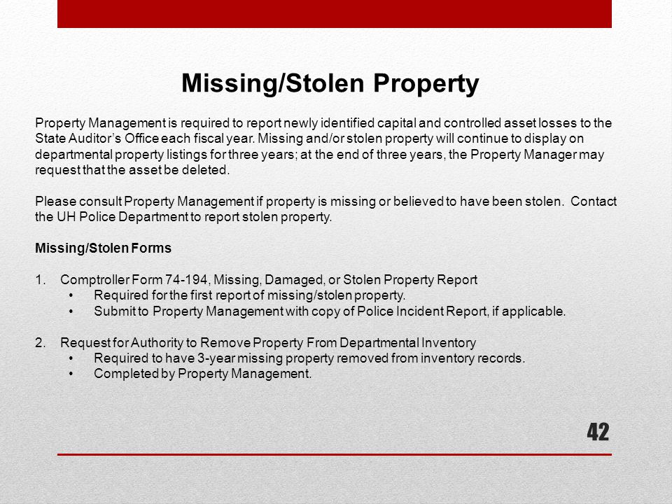 Missing/Stolen Property