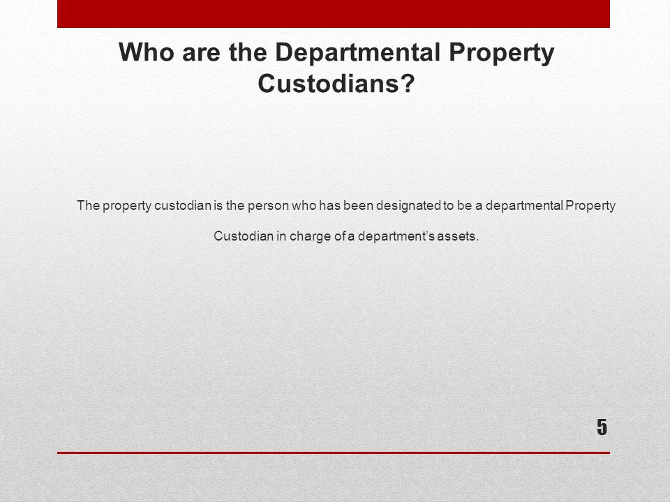 Who are the Departmental Property Custodians