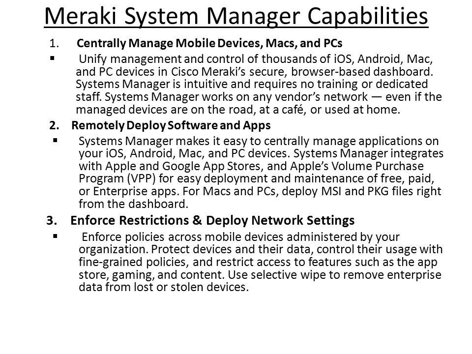 Meraki System Manager Capabilities